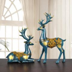 树脂工艺礼品创意欧式情侣麋鹿摆件一件代发高档家居装饰摆件 蓝色 新款麋鹿