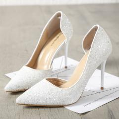 New style fashionable European and American style high heel shoes with fine heels white 34