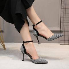 2018 summer new plaid shallow-mouthed stiletto heels for women and one-word button sandals street fa black 34