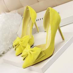 Korean version of sweet high-heeled shoes with thin heels and high heels yellow 34