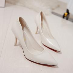 2017秋季新款坡跟皮面浅口性感女士高跟鞋时尚女单鞋 白 34