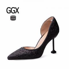 GGX-J22晚装新款银色尖头高跟鞋细跟女亮片水晶单鞋伴娘礼品婚鞋 黑色 34