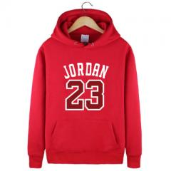 Spring and autumn basketball hoodie men`s coat sports loose-fitting and fleece hoodie no. 23 youth t red S (thin style)