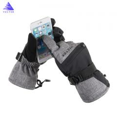 Cross-border special VECTOR new ski gloves 3M warm fleece cotton warm waterproof touchable ski glove gray l