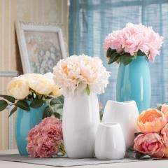 白色简约现代北欧风格双子陶瓷花瓶三件套花器工艺术品家居摆件 小款白色