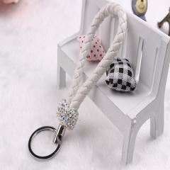 韩版创意纯手工挂件 编织镶钻皮绳情侣汽车金属钥匙扣小礼品批发 白色 13CM