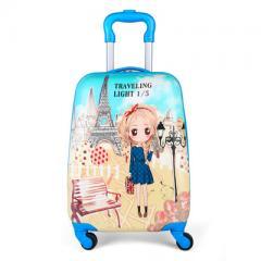 儿童拉杆箱16寸旅行箱小学生卡通登机箱万向轮行李箱一件代发 兔耳美女