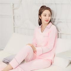 New spring and autumn ladies long-sleeved cotton pajamas south Korean lovers thin cotton leisure hom V-neck colored cotton pink m