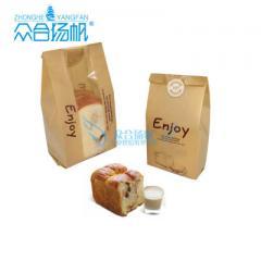 厂家批发ZH-B001牛皮纸袋吐司面包餐包开窗覆膜防油纸袋烘焙包装 12×9×30cm
