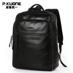 Picker uni-leather backpack men`s backpack Korean  Camouflage black -14 inches