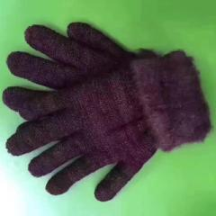 The new wool knitted gloves of 2017 are thickened  purple All code