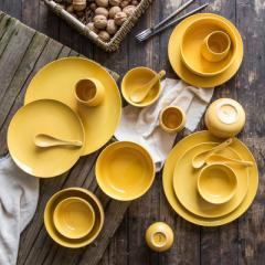 创意礼品定制LOGO北欧陶瓷器餐具碗盘碗碟单人套装纯色釉高档批发 马克杯绿