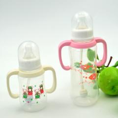 【厂价直销】小昔米PP奶瓶 不含双酚A带手柄标口奶瓶婴儿吸管奶瓶 白色