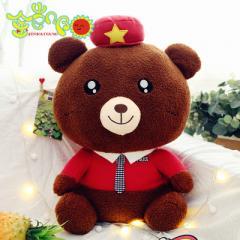 新泰迪熊毛绒玩具公仔警察熊抱抱熊超大大熊玩偶厂家直销批发定做 红衣棕色款 40厘米警察熊