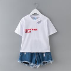 儿童套装夏2018新款 中大童牛仔短裤两件套流苏 韩版童装厂家批发 白色/现货 110cm
