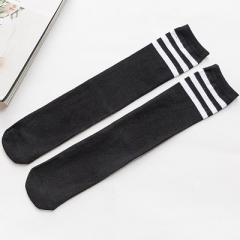 图图星 儿童中筒袜全棉袜子三条杠男女童足球袜学生袜舞蹈表演袜 黑底白条 28CM